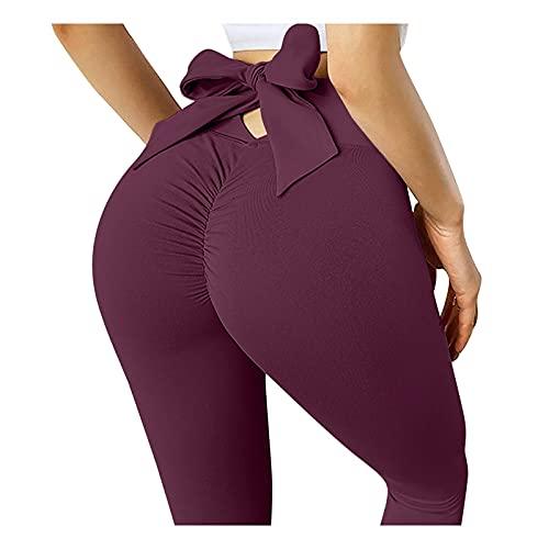 Augus Jacob Pantalones de Yoga de Arco de Cintura Alta, Leggings sin Fisuras, Mujeres sin Fisuras, presionar Leggins Deporte Fitness Running Gym Pants Sport Leggins (Color : We, Size : S)