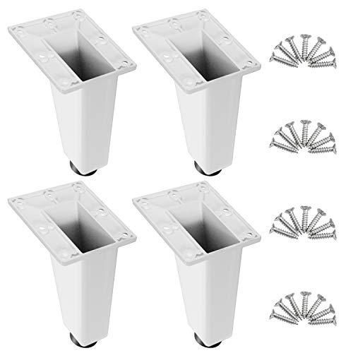 4 Piezas Blanco Patas Para Muebles Patas Regulables Para Muebles De Cocina o Baño,Pies De Gabinete De Altura, Patas De mesa