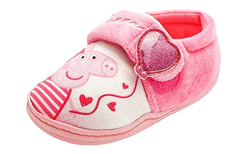 Peppa Pig Chicas Rosa Love Heart Zapatillas cómodas, color Rosa, talla 25 EU