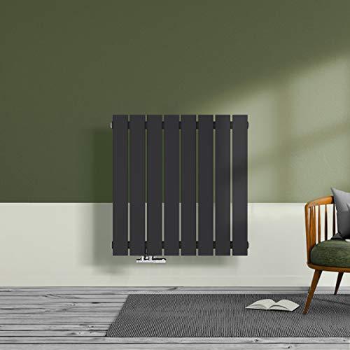Design Heizkörper Wandheizkörper Flach 630x620mm Designer Heizung Seitenanschluss Horizontal Einlagig 469 Watt Anthrazit Radiator