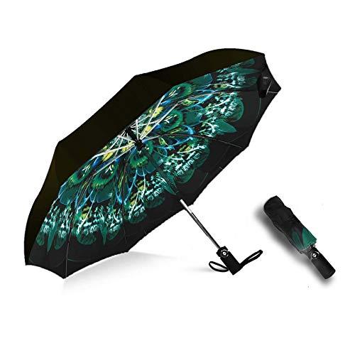 MRTLLOA Inverted Umbrellas Reverse Folding Umbrella Windproof UV Protection Compact Umbrella for Travel Outdoor Daily Use (peacock umbrella)