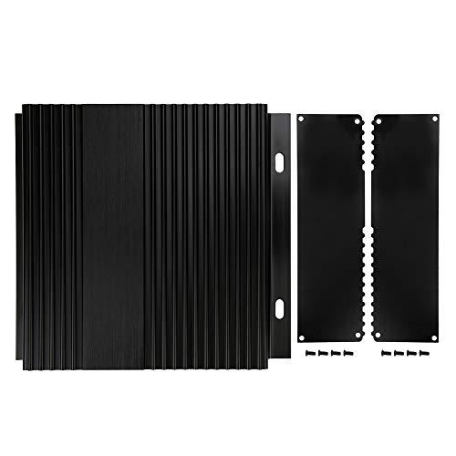 Aluminium-Projektbox, Aluminium-Projektbox Gebürstetes schwarzes Gehäuse Gehäuse DIY PCB Junction Wärmeableitung 41x168x150mm