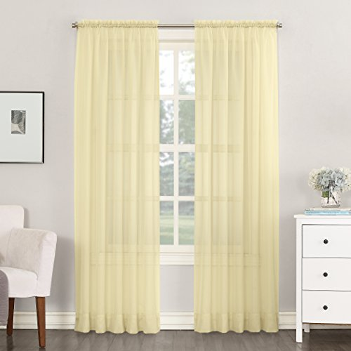 """No. 918 53566 Emily Sheer Voile Rod Pocket Curtain Panel, 59"""" x 84"""", Yellow"""