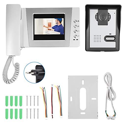 4.3In Pantalla colorida Apartamento Videoportero con cable Teléfono Audio Visual Intercomunicador Sistema de entrada para casa unifamiliar(Enchufe de la UE de 100-240 V)