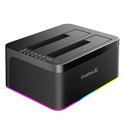 Inateck RGB Festplatten Dockingstation USB 3.0 mit Offline-Klonfunktion, für 2.5 u. 3.5 Zoll SATA HDDs und SSDs, UASP Unterstützt, Schwarz