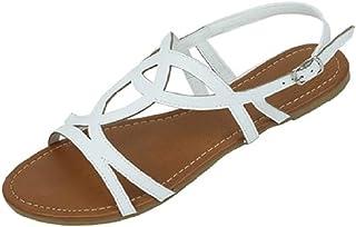 حذاء 18 نسائي بأشرطة الرومانية المصارع صنادل مسطحة سيور, (أبيض 2226), 37 EU
