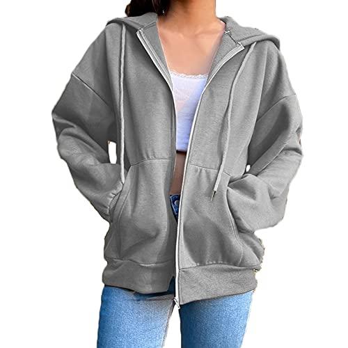 Yokbeer Damska Bluza z Kapturem Bluza z Kapturem Rozpinana Bluza Damska z Długim Rękawem i Kapturem Zapinana Na Zamek Bluza Na co Dzień Wiosenny Sweter Topy (Color : Dark gray, Size : M)