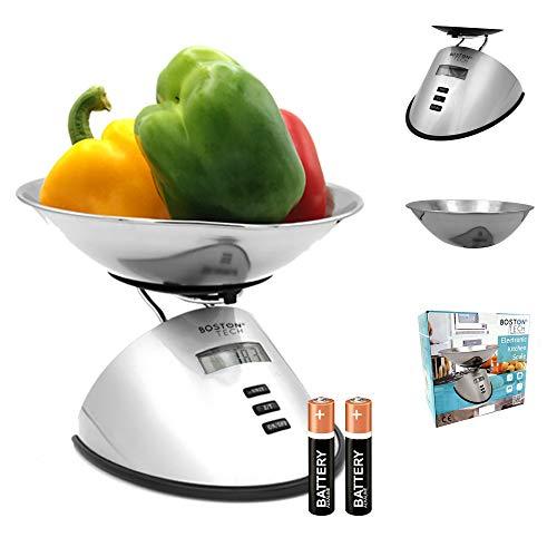 Báscula de cocina Digital Balanza de Precisión para alimentos Bol de Acero Inoxidable Removible, fácil de Limpiar, Pantalla LCD Baterías incluidas Capacidad 5 kg/11 lbs Modelo HK107