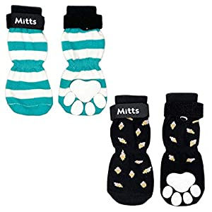 Mitts Anti-Slip Fun Dog Socks with Adjustable Straps – Strong Traction Control Non-Skid for Indoor on Hardwood Floors or Tiles, Paw Protection, Paw Grip Design (2 Pairs) Small