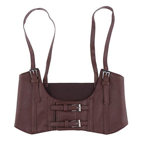 LLTT Mujeres De Cuero Elástico De Cuero Cinturón De Cintura Corsé Corset Cinch Subbit (Color : Brown)