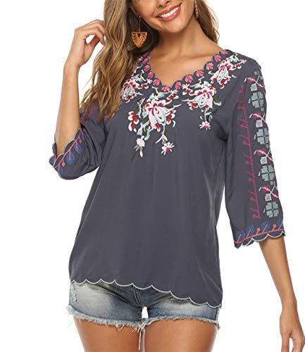 BIOHANBLE Womens Boho Embroidered V Neck Peasant 3/4 Sleeve Casual Mexican T Shirts Tops Blouses Gray