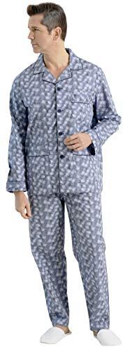 El Búho Nocturno Pijama de Caballero de Manga Larga clásico Estampado de Tela popelín de algodón para Hombre XXL Monociclos Marino-Blanco
