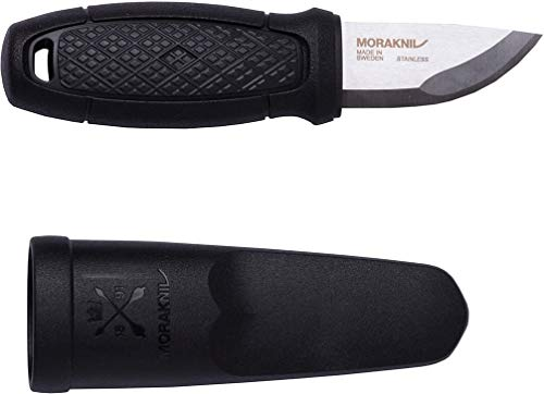 Morakniv Eldris Fixed-Blade Pocket-Sized Knife with Sandvik Stainless Steel Blade and Plastic Sheath, Black, 2.2 Inch