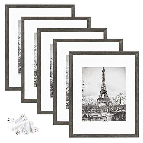 upsimples 11x14 Picture Frame Set of 5,Display Pictures 8x10 with Mat or 11x14 Without Mat,Wall Gallery Photo Frames,Metallic Gray