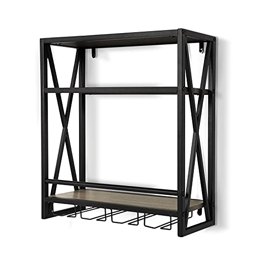 Wine Racks Wall Mounted-Hanging Wine Bottle Holder - 24 Inch Wall Stemware Glass Rack - 3 Tiers Wooden Storage Shelves with Sturdy Metal Frame, KS012