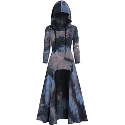 SHYY Damen Long Pullover Hoodie Langarm Asymmetrisch Gothic Retro Karneval Halloween Cosplay Party Ballkleid Mode Mittelalterliches Cosplay Kleid Sweatshirt S