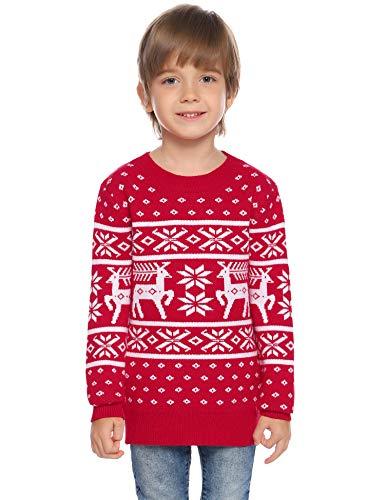 Abollria Weihnachten Pullover Kinder Lang Weihnachtspullover Rundhals Strickpullover mit Rentier Winterpulli mit Schneeflocken Mädchen Xmas Gestrickt Jumper Christmas Sweater für Junge