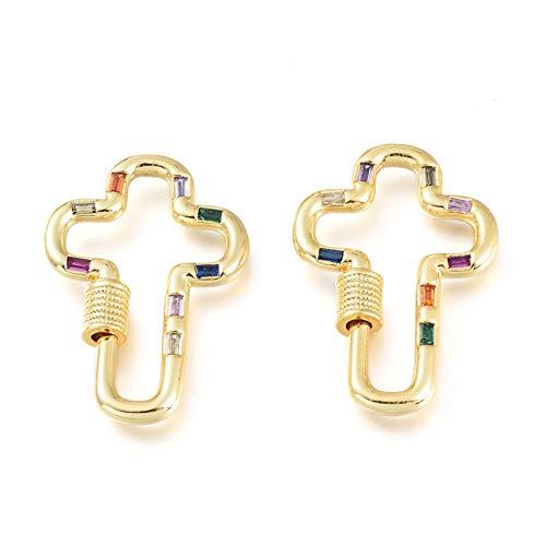 Cheriswelry 5 mosquetones de latón con diseño de cruz dorada y circonita cúbica para hacer llaveros