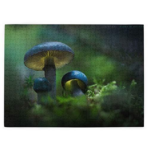 Setas Bosque Azul Colores Suelo Otoño 520 Piezas Rompecabezas Divertido Regalo Creativo para Niños Adultos En Cumpleaños Navidad