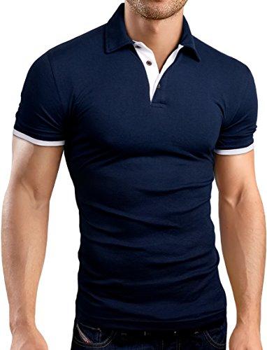 Grin&Bear Slim Fit Kontrast Polohemd Poloshirt Polo, Navy, M, GB160