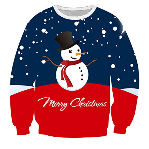 Men's Sweatshirts Unisex 3D Print Christmas Pullover Casual Long Sleeve Round Neck T Shirt Xmas Snowman Sweater Mens Comfy Sweatshirts Loose All-Match Jumper Tops Party Prom XL