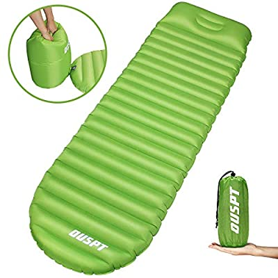 OUSPT Sleeping Pads, Self Inflating Camping Outdoor Air Pad with Attached Pillow- Ultralight Compact Portable Waterproof Thick Rest Mat for Backpacking Hiking Traveling (Green)