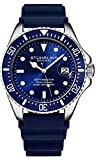 Stuhrling Original Watches for Men - Pro Diver Watch - Sports Watch for Men with Screw Down Crown for 330 Ft. of Water Resistance - Analog Dial, Quartz Movement - Mens Watches Collection (Blue)