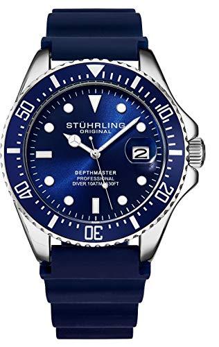 Stuhrling Original Taucheruhr für Herren - Pro Diving Watch - Sportuhren für Herren mit verschraubter Krone wasserdichte Uhr 330 Ft.- Schwarz Analoge Gummiuhr,...