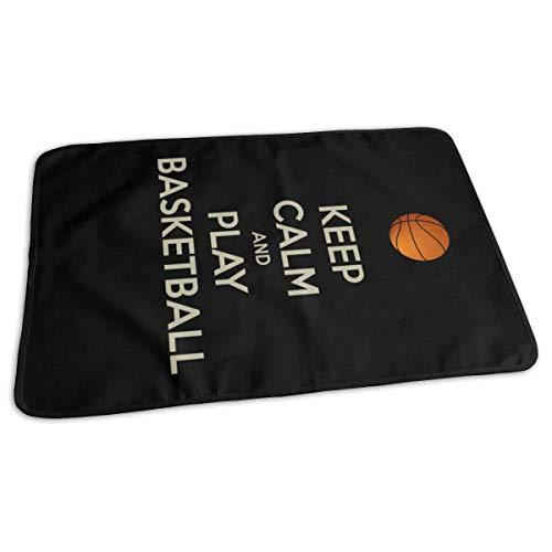"""Cambiador de viaje con texto en inglés""""Keep Calm and Play Basketball Baby reutilizable para bebé, 27,5 x 19,7 pulgadas"""