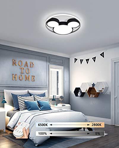 HIL Cartoon Deckenleuchte, Kindergarten Lampe LED Baby Deckenleuchte, Mickey Mouse Aluminium Lampenschirm Deckenleuchte, Mädchen Schlafzimmer Junge Zimmer Remote Dimmlampe,B/50 * 50cm/49w