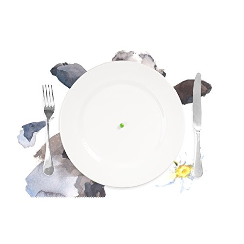 WellLee Milk Cow with A Daisy Flower Placemat Set of 4 Polyester Plate Holder Table Mats for Kitchen Dining Room,12x18 Inch