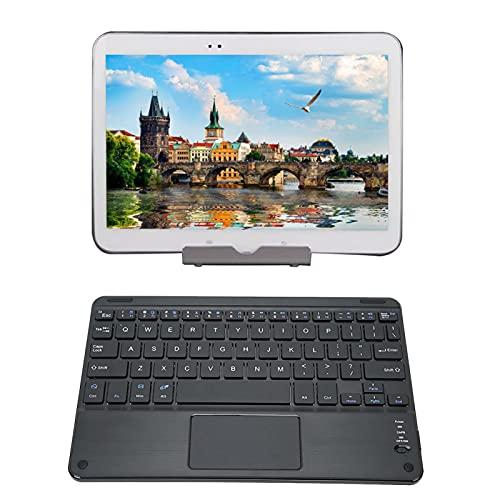 Teclado Bluetooth con Panel táctil, Teclado Bluetooth portátil ultradelgado de 9 Pulgadas para Tableta, Estructura de pies de Tijera, con Estuche Protector