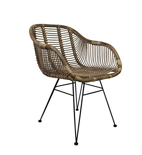 animal-design B-Ware Rattanstuhl Mars Korb-Stuhl Retro Sessel Lounge Loft Esszimmer Küche Bistro Balkon Terrasse mit Armlehne (braun)