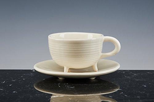 Tasse Ritual Oskar von Tee und Kaffee, Porzellan weiß emailliert. Set von 2Tassen mit Teller. Handgefertigt. Tassen-Design.