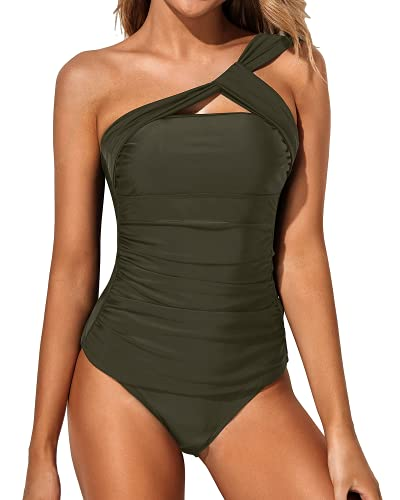 Tempt Me Women Green Tankini Ruched One Shoulder Tummy Control Top with Shorts Two Piece Swimsuits XS