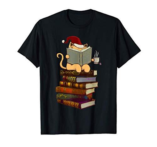 Cadeau de Noël Santa Hat Chats, thé et livres T-Shirt