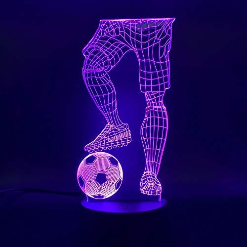 Luz Nocturna ilusión Deporte Jugador de fútbol sosteniendo fútbol Interruptor Sensor táctil Cambio de Color bebé durmiendo luz Nocturna