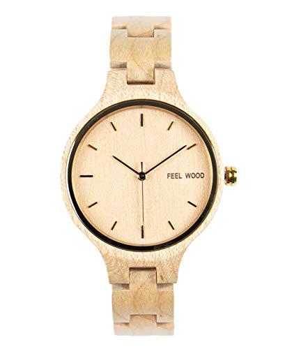 Feel Wood - Reloj de Mujer 36mm Hecho de Madera Natural y sostenibles - Correa Intercambiable (Maple)