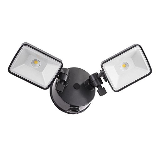 Lithonia Lighting OLF 2SH 40K 120 PE BZ M4 Twin Head Dusk to Dawn Outdoor Integrated LED Security Flood Light, Square, 4000K, Grey