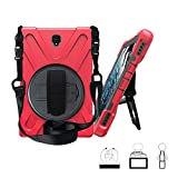 TianTa Galaxy Tab S4 10.5 Case SM-T835/T830, Heavy Duty Shockproof Rugged Defender Kids Case with 360 Rotating Hand Strap/Stand & Shoulder Strap for Samsung Tab S4 10.5 Inch 2018 SM-T830 / T835,Red