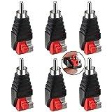 Greluma 6 Piezas Adaptador de Cable RCA a Altavoz, Altavoz de Subgraves, Phono RCA Macho a AV, 2 Terminales de Tornillo, Vídeo, Audio, Resorte, Tipo de Presión, Balun para CCTV
