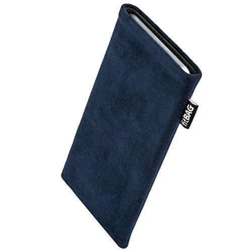 fitBAG Classic Blau Handytasche Tasche aus original Alcantara mit Microfaserinnenfutter für Haier Ginger G7 | Hülle mit Reinigungsfunktion | Made in Germany