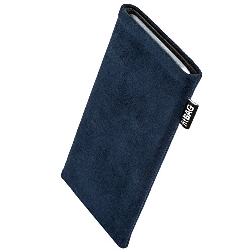 fitBAG Classic Blue Custom Tailored Sleeve for XIAOMI Mi5s Plus. Genuine Alcantara Pouch with Integrated Microfibre Lining for Display Cleaning