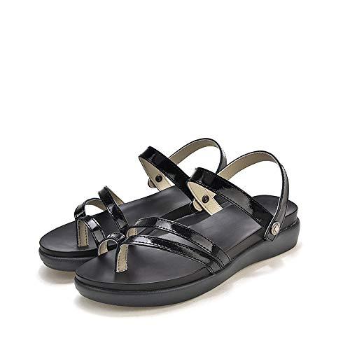 Nwarmsouth Slip-on Indoor House,Flat leather height-enhancing shoes, platform flip-flop sandals-black_UK6.5,Fitness Sandals
