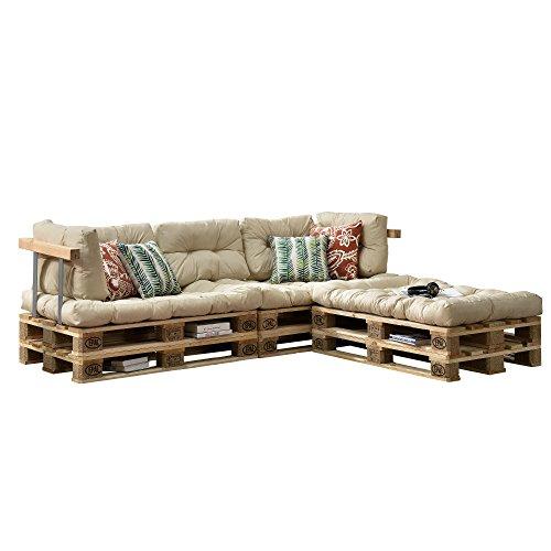 [en.casa] Cojines para sofá de palés \'europalés\' - Set - 3 Cojines de Asiento + 5 Cojines de Respaldo Beige - Muebles DIY - Ideal para salón - Sala de Estar