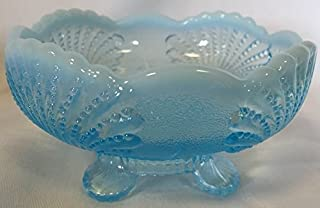 Large Bowl - Shell - Blue Opalescent Glass - Mosser USA