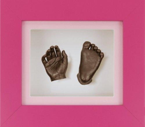 BabyRice New Baby Casting Kit mit 15,2 x 12,7 cm rosa 3D-Box Display-Rahmen / rosa Passepartout / weiße Rückseite / bronzefarben