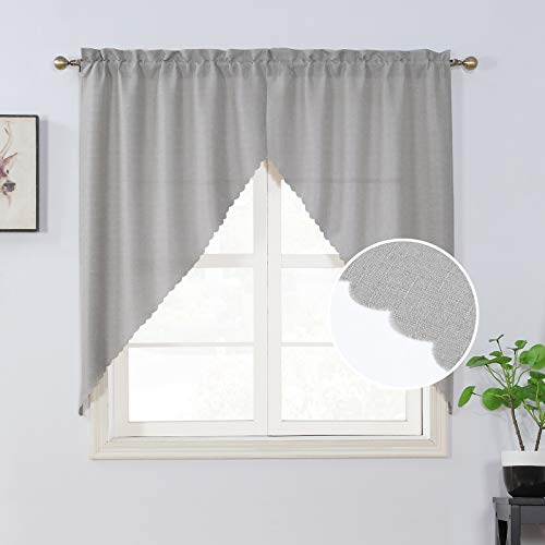 Rama Rose Pole Pocket Kitchen Tier Curtains - Tailored Scalloped Valance/Swags for Nursery ( 2 Pack, 72 Inches Wide Combined, 63 Inches Long, Nature)