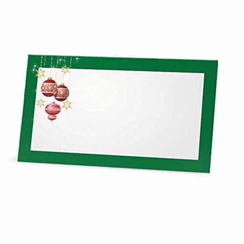 Weihnachten Bälle grün Tischkarten, flach oder Zelt Stil–10oder 50Pack–Weiß blanko vorne mit Bordüre–Placement Tisch...