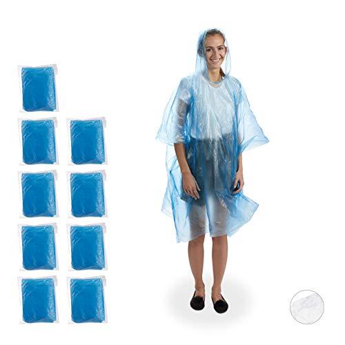 Relaxdays Regenponcho 10er Set, Regenumhang mit Kapuze, Einweg Regencape für Erwachsene, Unisex Regenschutz, PE, blau